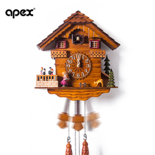 Fashion wall  solid wood music cuckoo clock  rustic intelligent timekeeping watch for children birthday gift