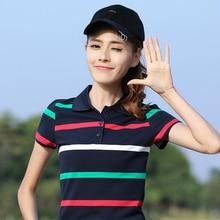 Summer Plus Size Top M-6XL 100% Cotton High Quality Polo Shirt Women Short Sleev Shirt Lady Striped Polo Cotton damen polo hemd