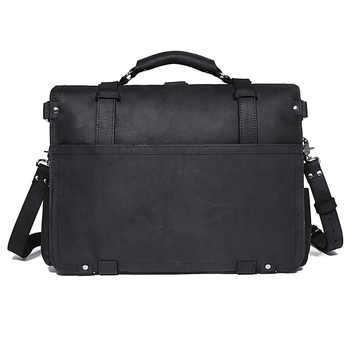 J.M.D 100% Crazy Horse Leather Men\'s Business Briefcases Dispatch Travel Bag