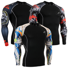 Men's Compression Shirt 3D Printed T-shirts Men Raglan Long Sleeve Cosplay Costume Clothes Base Layers Male Tops Size S-4XL