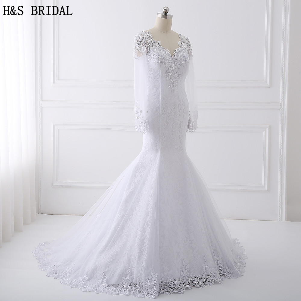 H&S BRIDAL Long Sleeve Lace Wedding Dress 2018 Beaded Wedding ...