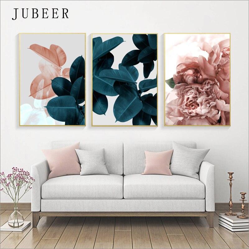 Style scandinave photos fleur rouge toile peinture feuilles vertes mur photos pour salon Art imprime décor à la maison