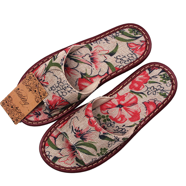 New 2018 Printed Linen Slippers For Home Family Summer Cow Muscle Heavy-Bottomed Women Sandals Indoor Floor Slip Home Flat Shoes