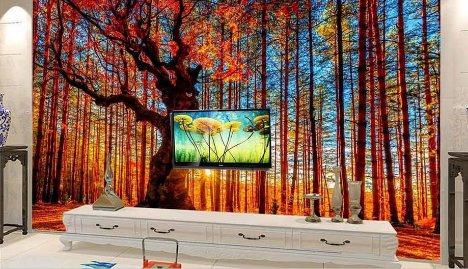 Custom 3D Mural Wallpaper Non-woven Bedroom Livig Room TV Sofa Backdrop Wall paper Forest landscape 3D Wallpaper Home Decor custom green forest trees natural landscape mural for living room bedroom tv backdrop of modern 3d vinyl wallpaper murals