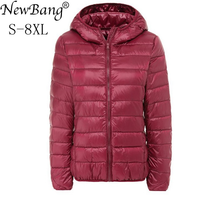 NewBang Brand Large Size 6XL 7XL 8XL Women's Down Coat Plus Ultra Light Down Jacket Women Autumn Winter Hooded Feather Jacket