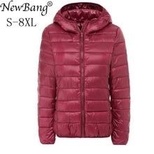 NewBang di Marca di Grandi Dimensioni 7XL 8XL delle Donne Imbottiture Coat Plus Ultra Luce Imbottiture Giacca Donna Autunno Inverno Con Cappuccio Piuma giacca calda