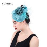 Imitation sinamay nice wedding fascinators hat elegant womens ladies mesh headwear with headband hair accessories facy flower