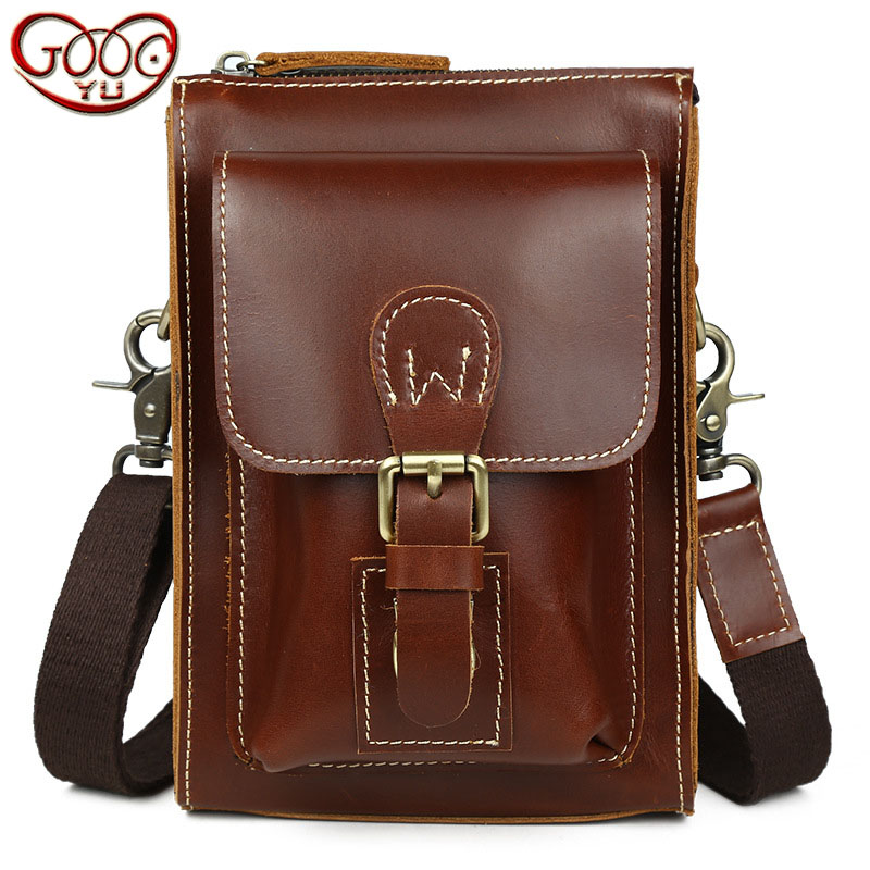 High-end fashion first layer of leather mens Messenger bag cell phone personal pockets to wear belt bag leisure packetHigh-end fashion first layer of leather mens Messenger bag cell phone personal pockets to wear belt bag leisure packet
