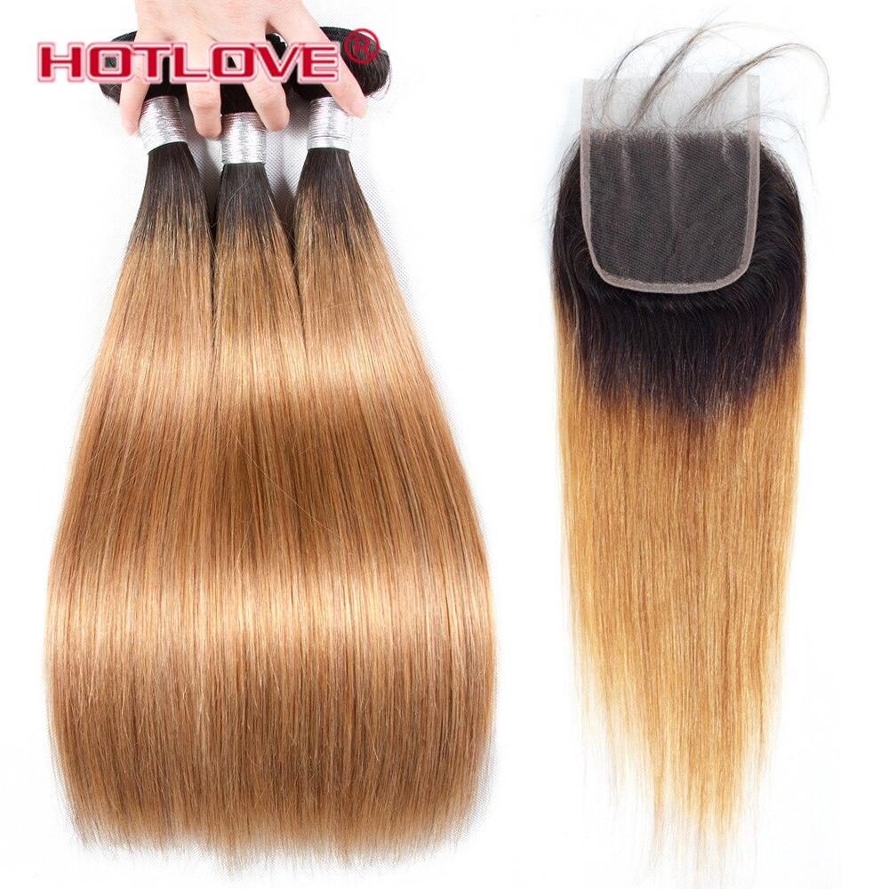 Hotlove прямо бразильский волос Комплект с закрытием кружева 1B/27 не Реми Ombre темные корни блондинка человеческих волос 3 комплект с закрытием ...