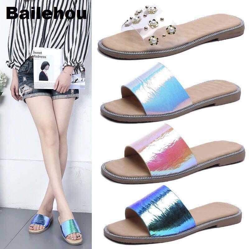 0f8b88d5d8caff 2018 New Fashion Women Summer Slippers Slip On Slides Beach Flip Flops Shoes  Bling Laser Material Sandal Transparent PVC Slipper