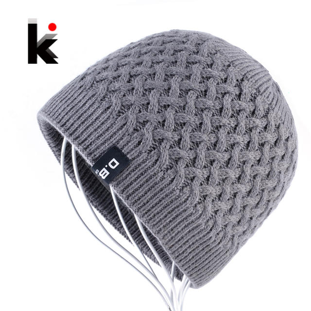 Men s Skullies Hat Beanies Winter Bonnet Knitted Wool Hat Add Velvet thick Caps  Men Outdoor Casual 904a1ce6f8e8