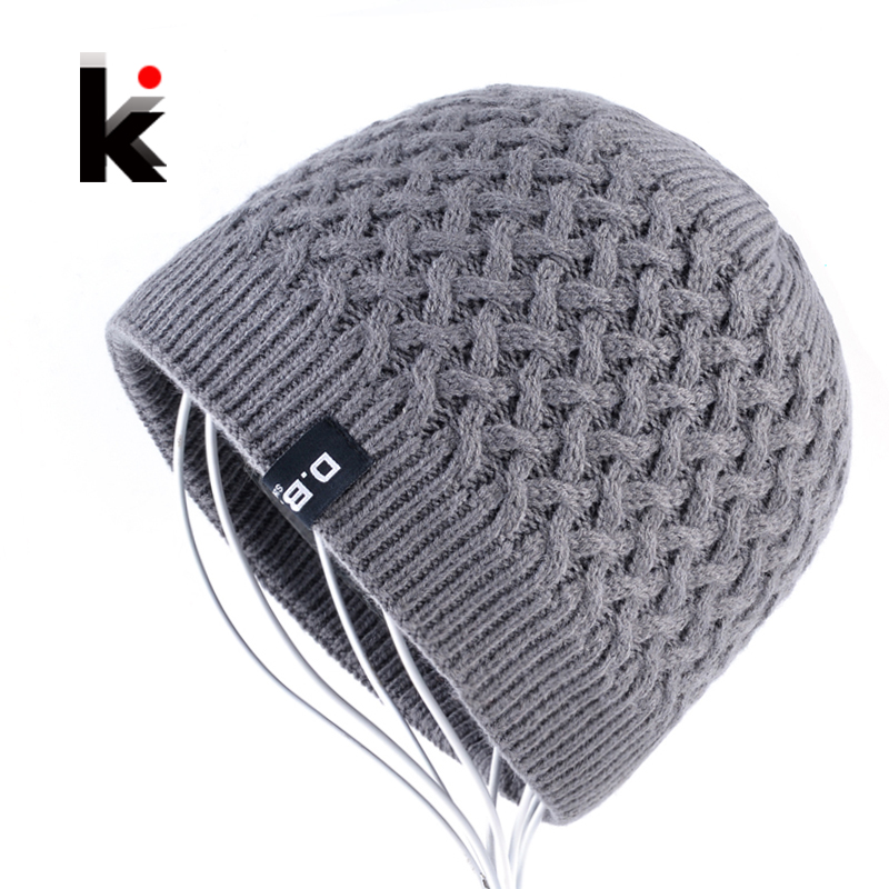 Men's   Skullies   Hat   Beanies   Winter Bonnet Knitted Wool Hat Add Velvet thick Caps Men Outdoor Casual Warm Knitting Gorros Homens