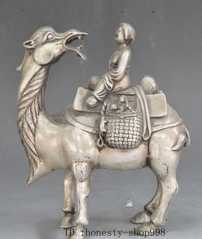 Рождество китайский 9 восточная культура старый китайский Танг династии Серебряная женщина Belle Ride Llama Статуэтка медный верблюд Хэллоуин