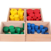 Wooden Montessori Materials Colored Montessori Cylinders Learning Educational Toys for Kids Juguetes Brinquedos MI2664H