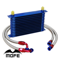 MOFE Racing Universal AN10 Aluminum 13 Row Oil Cooler Kit Sandwich Plate Adapter Braided Steel Oil
