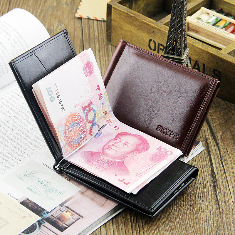 Fashion New Quality Patent Leather Men Money Clips With 7 Cards Slots Black Brown 2 Folds Open Clamp Clip For Cash Free Shipping