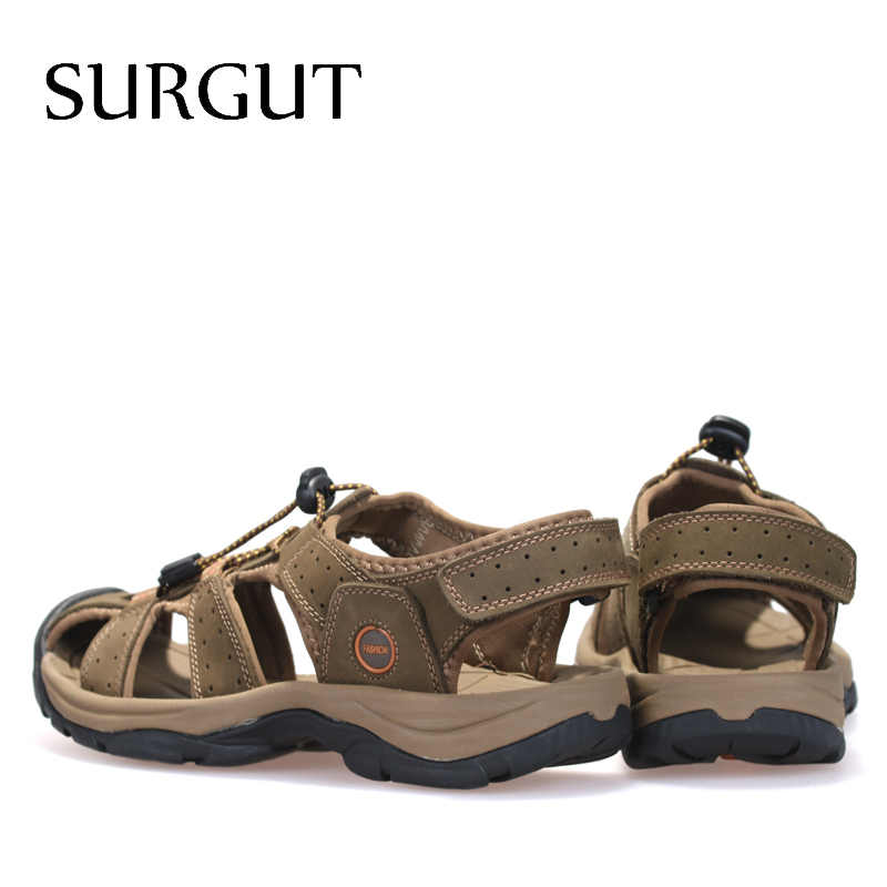 SURGUT Marca Genuína Sapatos De Couro Sandálias de Verão Novo Tamanho Grande dos homens Sandálias Homens Sandálias Da Moda E Chinelos Tamanho Grande 38-47
