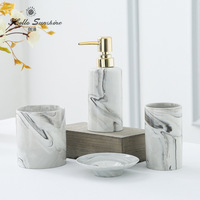 Bathroom Five piece Suit Washroom Accessory Marble Bathroom Accessories Set Toilet Toiletries Soap Dispenser,Toothbrush Holder