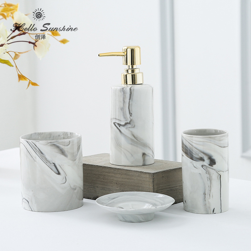 Bathroom Five Piece Suit Washroom Accessory Marble Bathroom Accessories Set Toilet Toiletries Soap Dispenser Toothbrush Holder Bath Hardware Sets Aliexpress