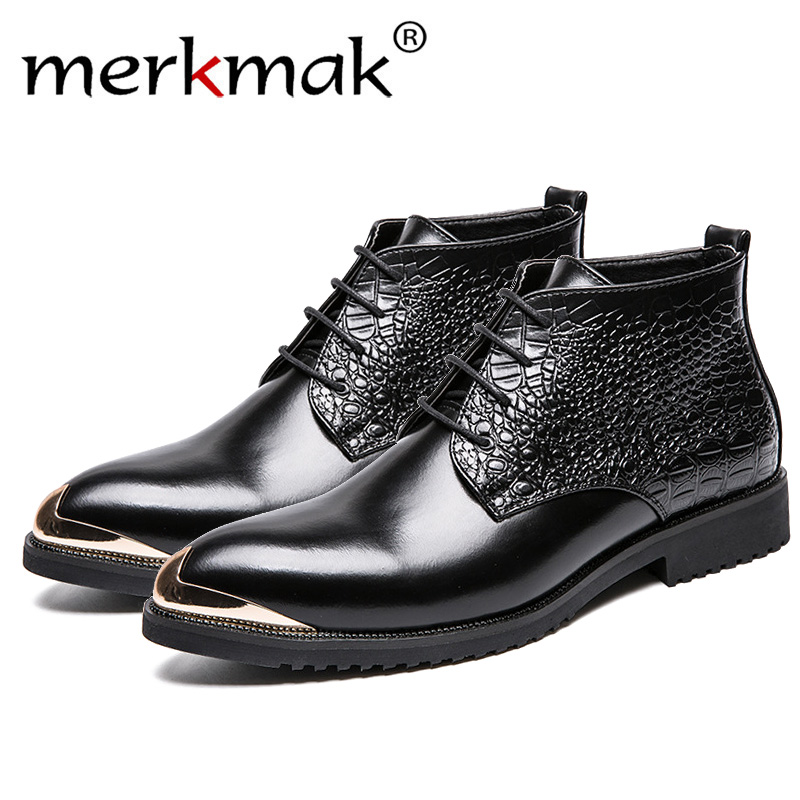Boots 2018 Tobillo Hombres Cuero gold Botas Black Genuino Hombre Los Moda De Boots Invierno Casuales Merkmak Negocios Zapatos Z8dOqff