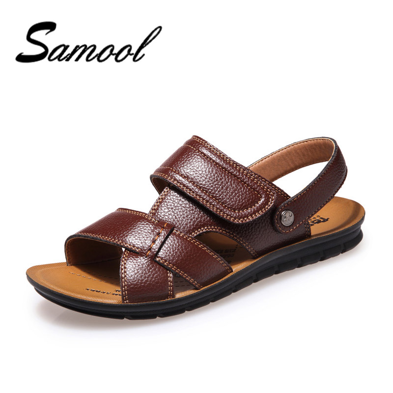 Men Sandals Slippers Leather Cowhide Male Summer Shoes Outdoor Beach Slippers Fashion Male Sandalias Soft Bottom Breathable CX5