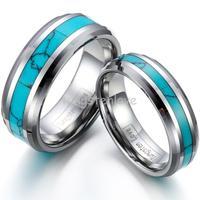 Di alta Qualità Nobile Comfort Fit Sintetico Turchese Dell'intarsio Dell'anello del Tungsteno del Mens Delle Donne Anniversario di Fidanzamento Wedding Bands-1 PZ