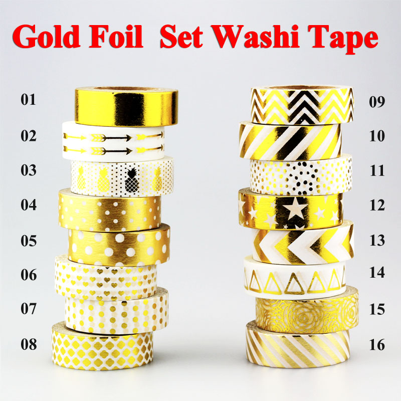 цены  New !10m Gold Foil Washi Tape Adhesive Scrapbooking Tools Christmas Party Kawaii Photo Album MaskingTape decoration Paper Crafts
