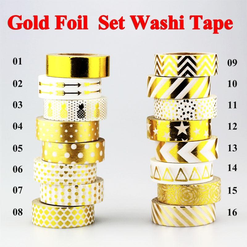 New !10m Gold Foil Washi Tape Adhesive Scrapbooking Tools Christmas Party Kawaii Photo Album MaskingTape Decoration Paper Crafts