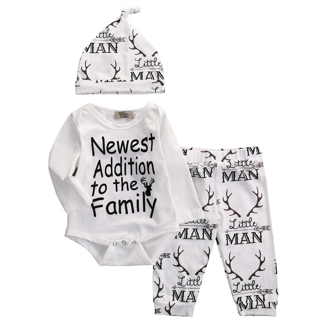 New Fasihon Newborn Infant Baby Boy Clothes Set Long Sleeve O-Neck Romper Tops Pant Hat Outfits Set NEW