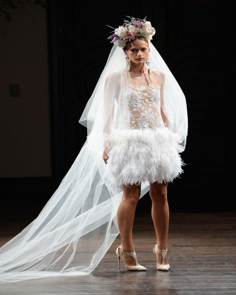 sexy ostrich feather short wedding dress see thorugh o neck lace applique mini wedding gowns vestidos de novia 2017 w315