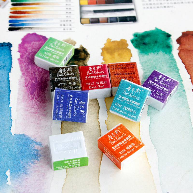 Paul Rubens 1PC 48 Colors Half Pan Artist Watercolor Paint Professional Water Color Paint Pigment For Painting Art Supplies