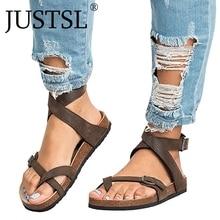 JUSTSL 2018 summer women's Flat-bottomed pedal sandals feminina belt buckle shoes female comfort Roman sandals plus size