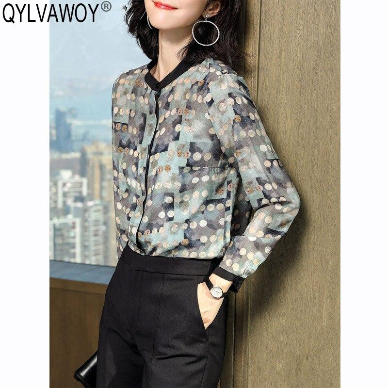 Chemise femme 100% soie Vintage coréen Blouse femmes chemises printemps femmes hauts et chemisiers 2019 chemise Camisas Mujer CS199961