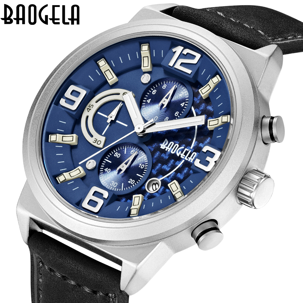 Men Sport Watches BAOGELA Luxury Brand Men Quartz Watch Genuine Leather Strap Hot Male Calender Business Waterproof Chronograph genuine jedir quartz male watches genuine leather watches racing men students game run chronograph watch male glow hands