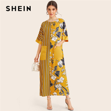 SHEIN الأصفر مخطط و الأزهار طباعة جيب مرقع أنيقة تونك اللباس النساء 2019 الصيف نصف كم السيدات ماكسي فساتين