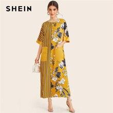 Shein 옐로우 스트라이프 및 꽃 프린트 포켓 패치 우아한 튜닉 드레스 여성 2019 여름 하프 슬리브 숙녀 맥시 드레스
