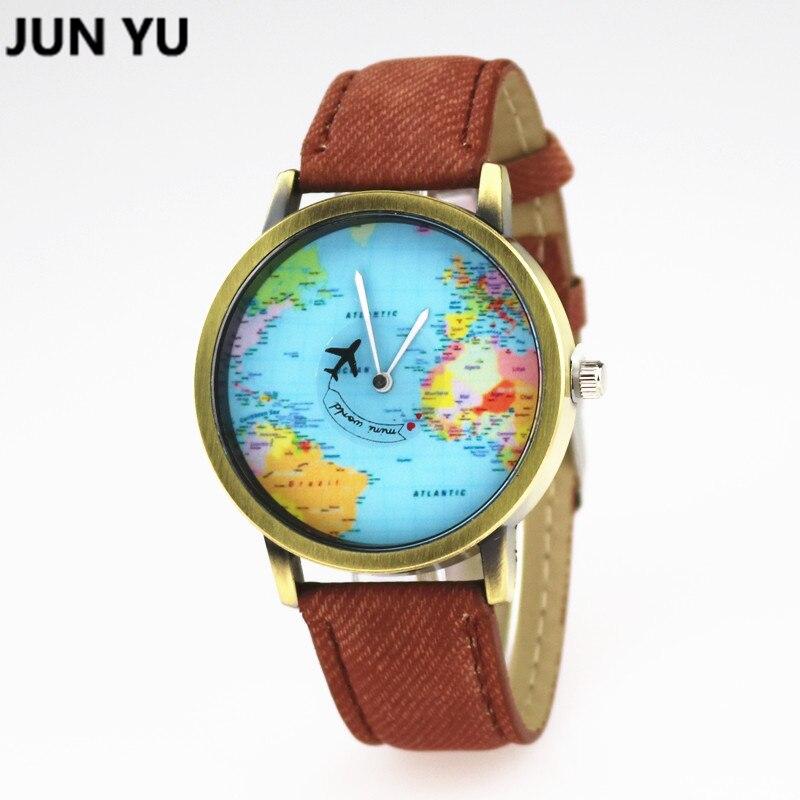 Clock JUNYU World Map Watch Globe Graduation Gift for women Wanderlust gift Unique map Travel Men watches Quartz Wristwatches