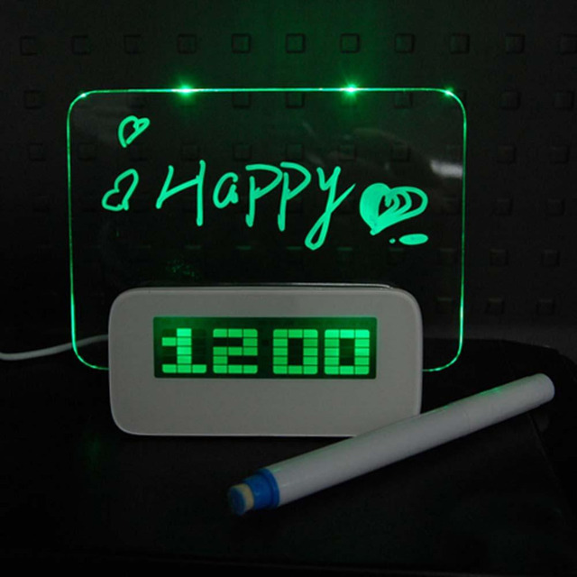 Digital LED Clock Light Fluorescent Message Board Thermometer Calendar Alarm Green travel digital calendar led message board