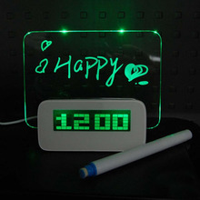 Luz LED Fluorescente de Noticias Foro Digital Termómetro Calendario reloj calendario digital led tablero de mensajes de Alarma de viaje Verde