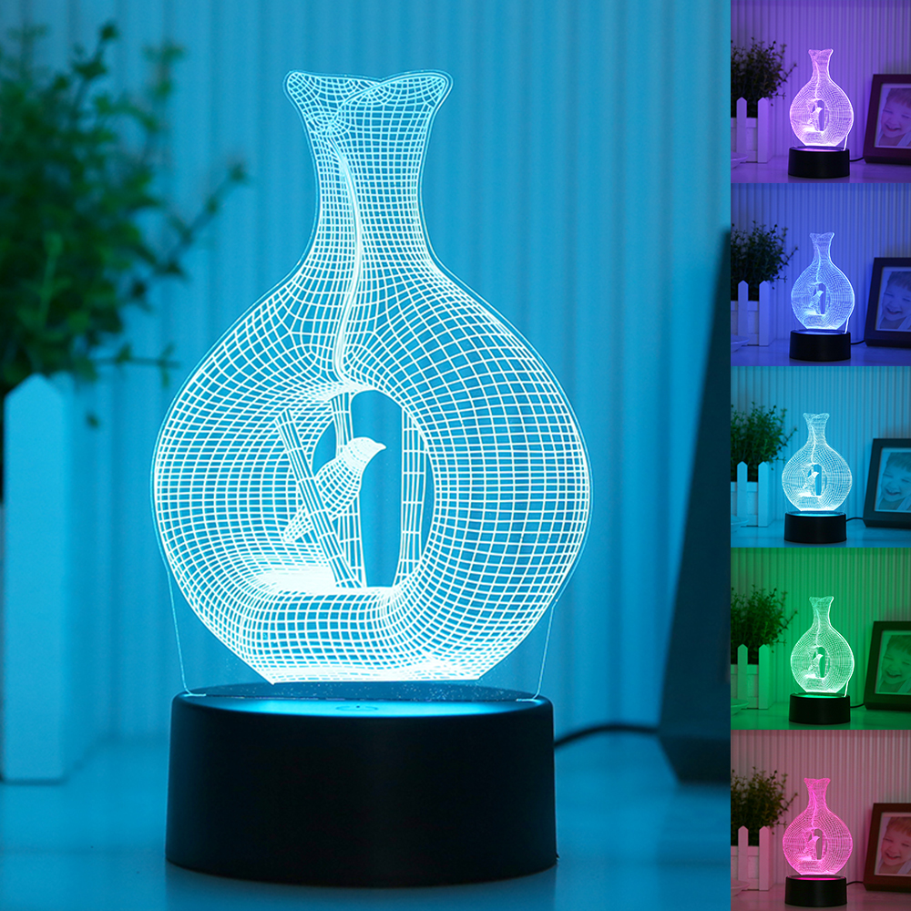 3D LED Night Light Bird In Cage Model 7 Colors 5V USB Led Nightlamp Touch-sensitive Illusion Nightlights Table Lamps For Bedroom red green blue yellow cyan purple white creative led bird lamp usb bird cage night light with touch button gx129
