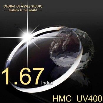 สายตาสั้นอ่าน Aspherical เรซิน 1.67 Index Clear เลนส์ออปติคอลเลนส์ตา UV400 HMC Anti - Reflective Coating 67HMC