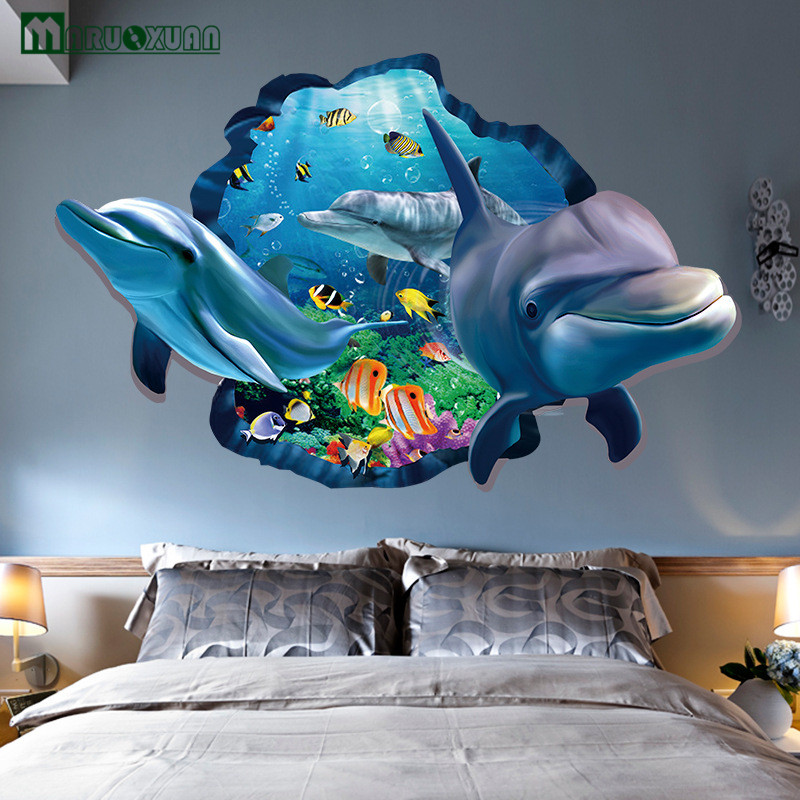 Beautiful Maruoxuan 3d Dolphins Stickers Underwater World Living Room Bedroom Decor  Wall Stickers Sea Aquarium Dolphins Kids Room Poster In Wall Stickers From  Home ...