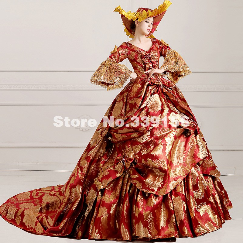 High-end Wine Red Floral Medieval Renaissance Marie Antoinette Ball Gown Vestido Mardi Gras/Carnival Women Party Dress
