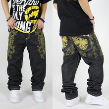 Men's Hiphop Jeans Cool Men's Personality Embroidery Loose Pants Denim Long Trousers Male Fashion Hip Hop Jeans