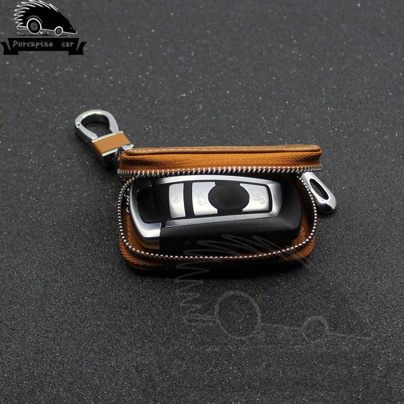 Porte-clé de voiture porte-clé étui en cuir pour Mercedes BMW Audi VW Skoda Toyota Lexus Honda Hyundai Kia Ford Jaguar Subaru