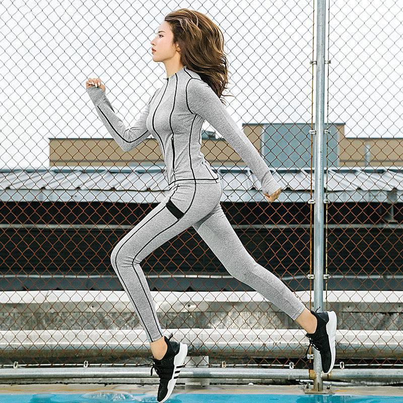 3 pièces Ensemble Automne Hiver à manches longues vêtements de yoga Manteau pantalon chaud Soutien-Gorge Workout Sport Costume Femmes vêtements de fitness Sport Jogging