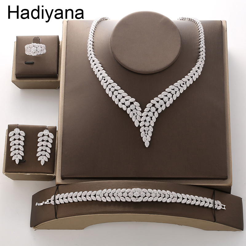 Hadiyana2018 Luxury Bridal Engagement Wedding Jewelry Set Shiny Zircon Necklace Earring Bracelet Ring Sets For Women