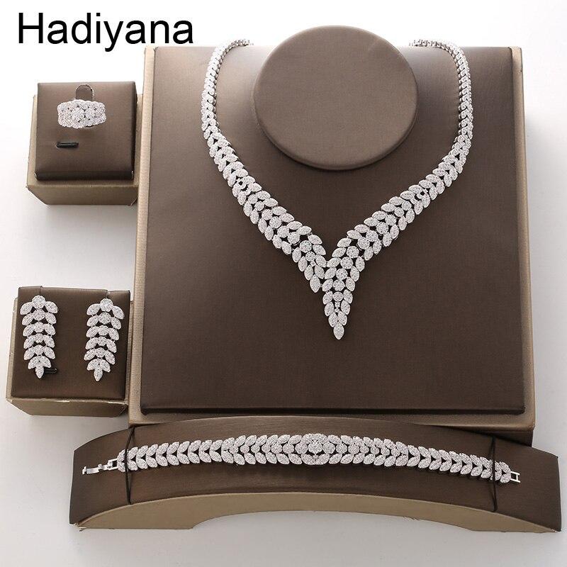 Hadiyana2018 luksusowe Bridal zaręczyny biżuteria ślubna zestaw błyszczące naszyjnik cyrkoniowy kolczyki bransoletka pierścień zestawy dla kobiet TZ8088 w Zestawy biżuterii od Biżuteria i akcesoria na  Grupa 1