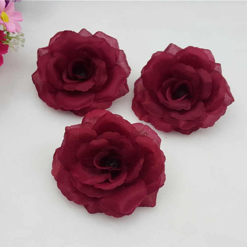 1 pezzo 8 cm rosa Rossa testa di fiore di seta Artificiale Fiori Per La Cerimonia Nuziale Decorazione del partito del fiore FAI DA TE Decorativo Corona Falso fiori