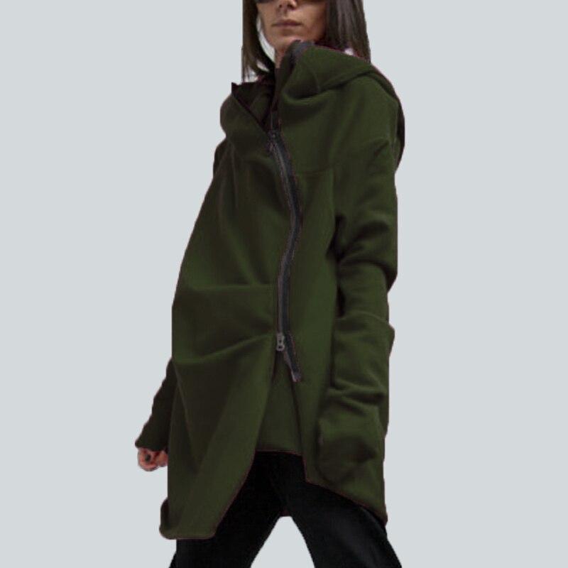 Fashion Women Asymmetrical Sweatshirt Sweats Hoodies Hooded Jacket Coat Outwear